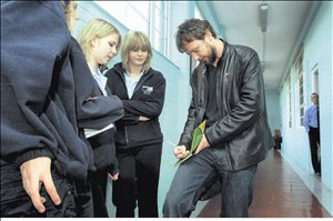 Actor John Simm signs autographs at Cromer High School