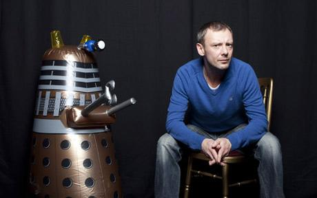 John Simm, who plays the Master in this year's 'Dr Who' Christmas special, makes friends with a Dalek.