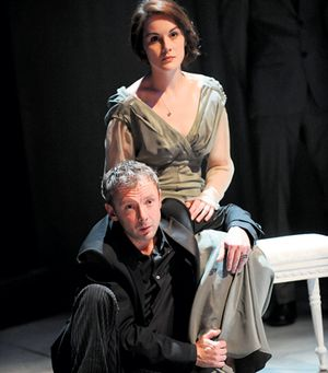 Michelle Dockery as Ophelia and John Simm as Hamlet at the Crucible in Sheffield