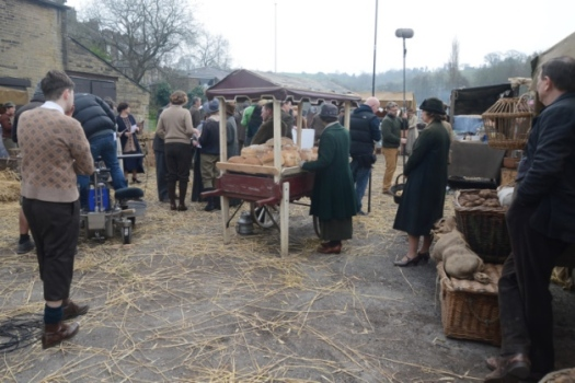 The Royal Hotel's carpark is transformed into a market during filming for series 2 of The Village