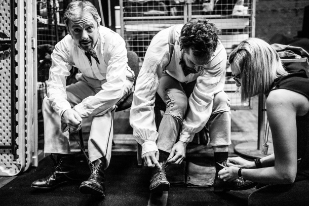John Simm and John Light backstage during Three Days in the Country at the National Theatre. Photo by Matt Humphrey