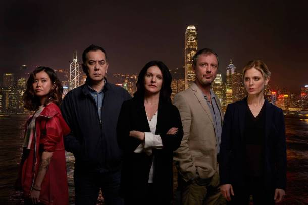 Strangers cast L to R: Katie Leung, Anthony Wong, Dervla Kirwan, John Simm, Emilia Fox. Photo: ITV