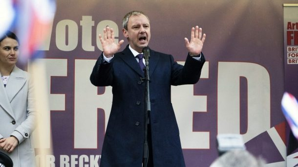 John Simm plays a rabble-rousing populist politician in Cold Courage