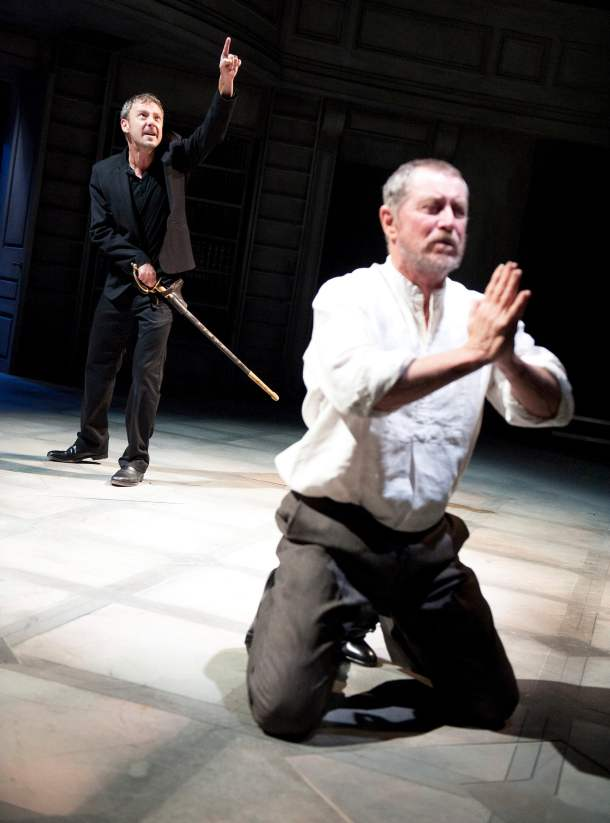 John Simm, left, in Hamlet at the Sheffield Crucible, also directed by Paul Miller. Photograph: Tristram Kenton/the Guardian