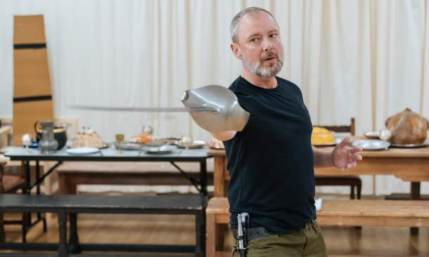 'A contradiction' … Simm rehearsing Macbeth. Photograph: Manuel Harlan