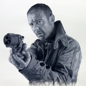 Black and white portrait of John in his chosen role as Rick Deckard from Blade Runner. Medium: Acrylic on Somerset Paper