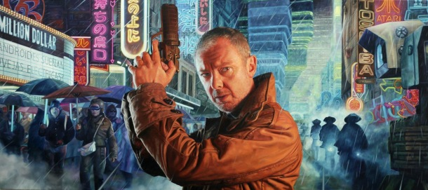 John Simm in his chosen role as Rick Deckard from Blade Runner. Medium: Oil on Canvas