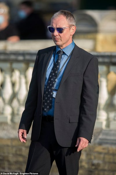 Police drama: John takes on the lead role of detective Roy Grace, and was seen filming alongside fellow actor Richie Campbell who portrays his partner DS Glenn Branson