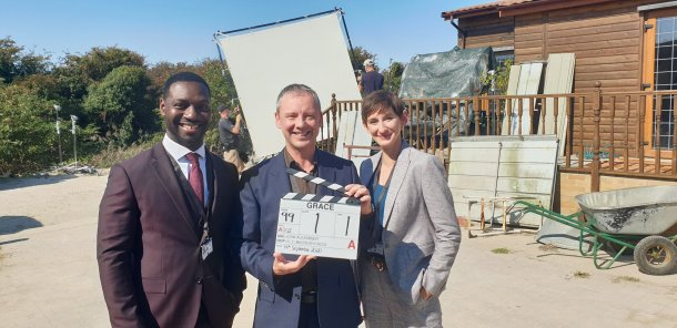 John Simm with co-stars Richie Campbell and Laura Elphinstone